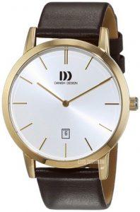 Zegarek Danish Design z białą tarczą i brązowym, skórzanym paskiem