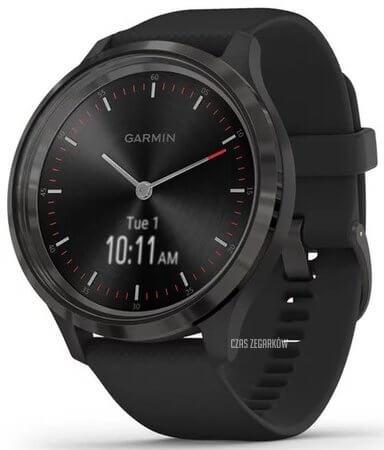 Smartwatch Garmin z czarnym, gumowym paskiem
