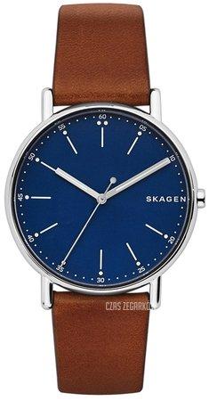 Zegarek Skagen z granatową tarczą i brązowym paskiem